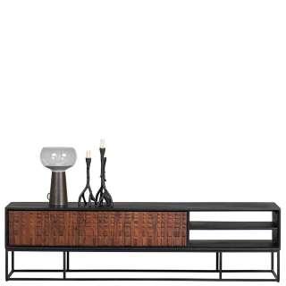 Fernseher Schrank in Nussbaumfarben und Schwarz 175 cm breit