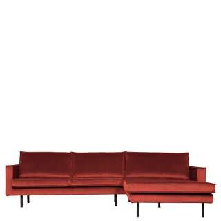 Couchecke in Rotbraun Samt Retro Design