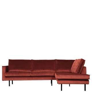 Sofa Rundecke in Rotbraun Samt Retrostil
