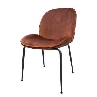Esstisch Stühle in Kupferfarben Samt Retro Design (4er Set)