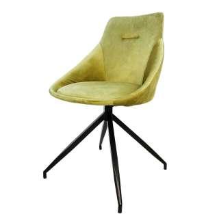 Samt Stühle in Gelbgrün modern (2er Set)