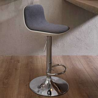 Designbarhocker in Dunkelgrau Webstoff Lehne (2er Set)