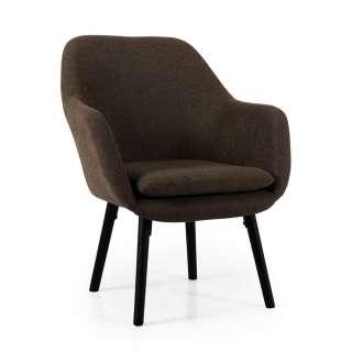 Tischsessel in Dunkelbraun Webstoff Skandi Design