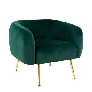 Sessel in Grün Velours goldfarbigem 4-Fuß Gestell aus Metall