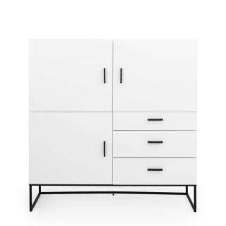 Wohnzimmerschrank in Weiß und Schwarz Skandi Design