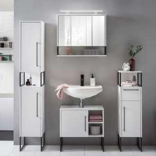 Badezimmerset in Weiß und Anthrazit LED Beleuchtung (4-teilig)