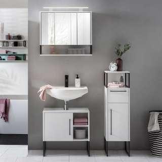 Badezimmermöbel Set in Weiß und Anthrazit LED Beleuchtung (3-teilig)