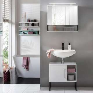 Badezimmerset in Weiß und Anthrazit LED Beleuchtung (2-teilig)