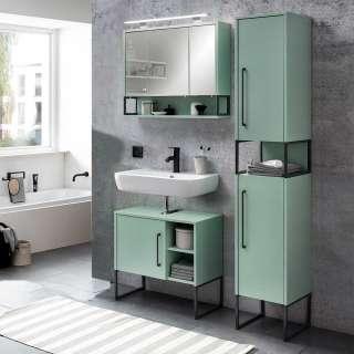 Badezimmermöbelset in Mintgrün und Anthrazit LED Beleuchtung (3-teilig)