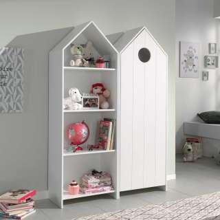 Kinderzimmer Regal mit Kleiderschrank Weiß (2-teilig)