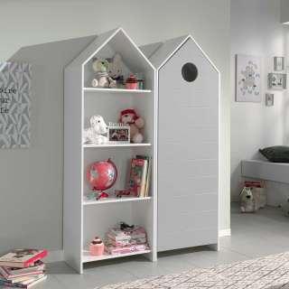 Kinderzimmerschrank mit Regal Weiß und Grau (2-teilig)