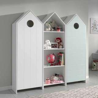 Kinderzimmer Schränke in Weiß und Mingrün weißem Regal (3-teilig)