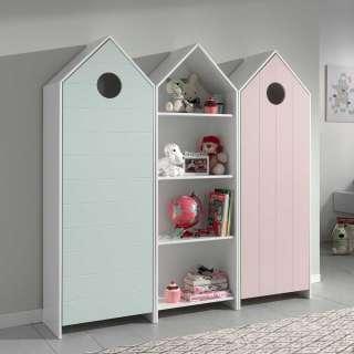 Kinderzimmerkleiderschrank Set in Mintgrün und Rosa Regal in Weiß (3-teilig)