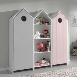 Kinderkleiderschrank Set in Grau und Rosa weißem Regal (3-teilig)