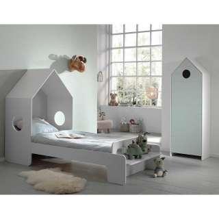 Kinderzimmermöbel Set in Weiß und Mintgrün Haus Optik (2-teilig)