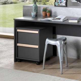 Schreibtischcontainer in Anthrazit und Buche Optik zwei Schubladen