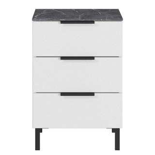 Nachtschrank in Weiß und Grau 60 cm hoch