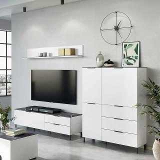 Wohnzimmer Schrank in Weiß und Grau Made in Germany (3-teilig)