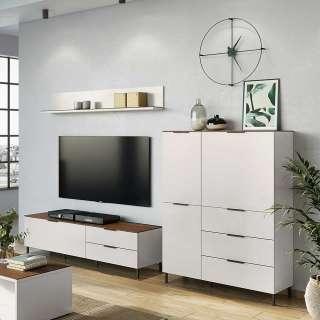 Designer Wohnwand in Hellgrau und Nussbaum Optik Made in Germany (3-teilig)