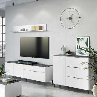 Schrankwand in Weiß und Grau Made in Germany (3-teilig)