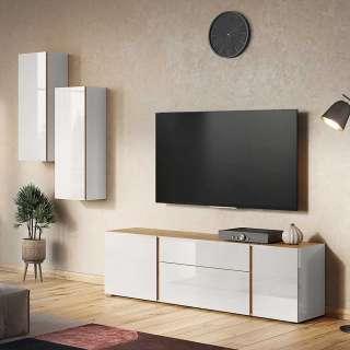 Wohnzimmer Anbauwand in Hellgrau und Wildeichefarben Made in Germany (3-teilig)