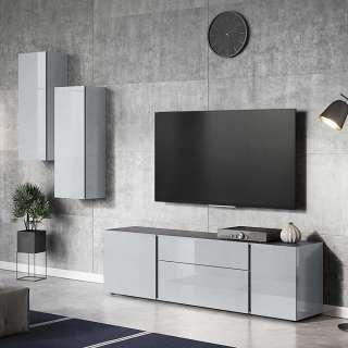Design Wohnwand in Dunkelgrau und Silberfarben Glas beschichtet (3-teilig)