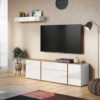 Wohnzimmerwand in Hellgrau und Wildeiche Optik 180 cm breit (2-teilig)