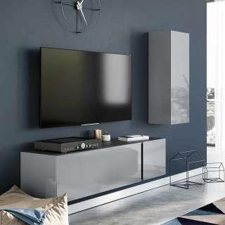 Wohnzimmer Anbauwand in Dunkelgrau und Silberfarben Glas beschichten (2-teilig)