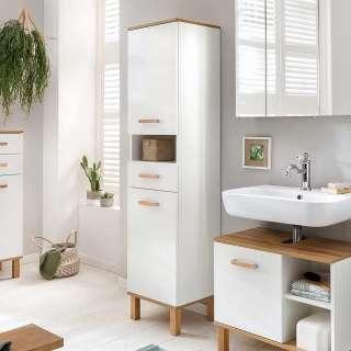 Bad Hochschrank in Weiß und Eichefarben Skandi Design