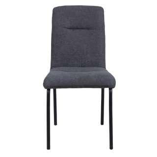 Esstisch Stühle in Dunkelgrau Webstoff Metallgestell (2er Set)