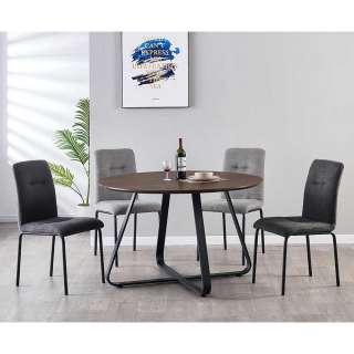 Esszimmer Sitzgruppe in Nussbaumfarben und Grau rundem Tisch (5-teilig)