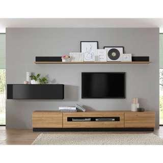 Wohnzimmerwand in Schwarz Hochglanz und Wildeiche Optik 280 cm breit (6-teilig)