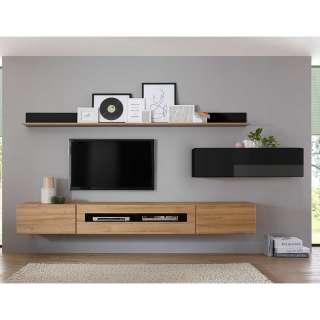 TV Wohnwand in Schwarz Hochglanz und Wildeiche Optik 280 cm breit (6-teilig)