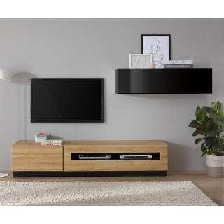 Wohnzimmer Anbauwand in Schwarz Hochglanz und Wildeiche Optik modern (3-teilig)