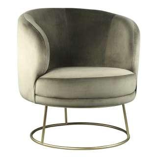 Retro Sessel in Khaki Samt 55 cm Sitztiefe
