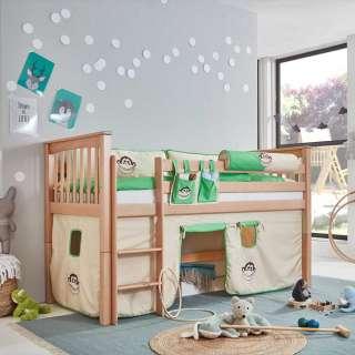 Halbhohes Kinderzimmer Bett aus Buche Massivholz Vorhang