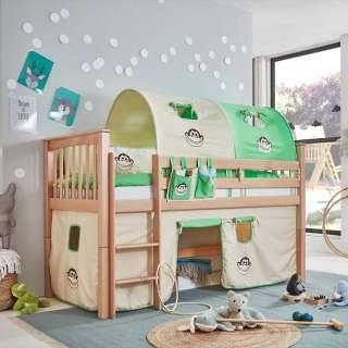 Kinderzimmer Hochbett aus Buche Massivholz Tunnel und Vorhang