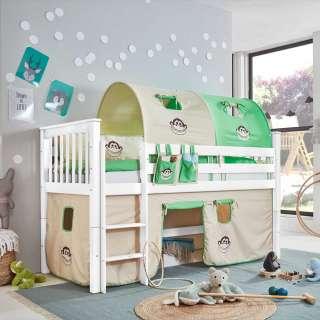 Kinder Hochbett in Weiß Buche massiv Vorhang und Tunnel