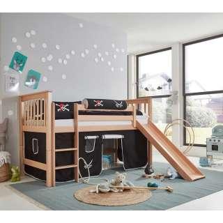 Piraten Kinderhochbett aus Buche Massivholz Vorhang und Rutsche
