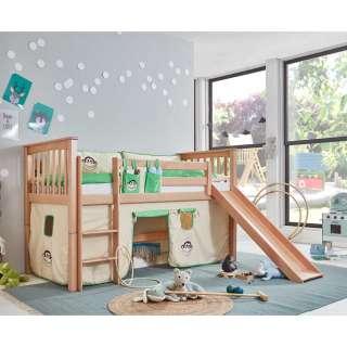 Spielhochbett aus Buche Massivholz Rutsche und Vorhang
