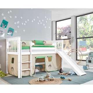 Kinderhochbett aus Buche Massivholz Rutsche und Vorhang