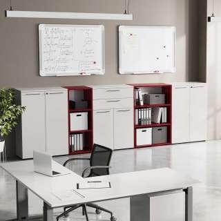 Büroausstattung in Lichtgrau und Dunkelrot Made in Germany (5-teilig)