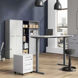 Büromöbel Komplettset in Lichtgrau höhenverstellbarem Schreibtisch (5-teilig)