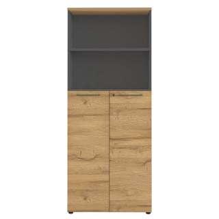 Büroschrank in Wildeichefarben und Dunkelgrau 80 cm breit
