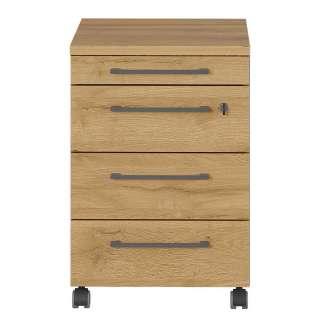 Schreibtischrollcontainer in Wildeichefarben und Dunkelgrau abschließbar