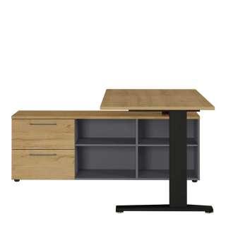 Schreibtisch in Dunkelgrau und Wildeiche Optik 75 cm hoch