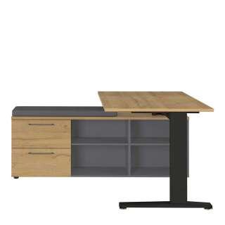 Büroschreibtisch in Wildeichefarben und Dunkelgrau 140 cm tief