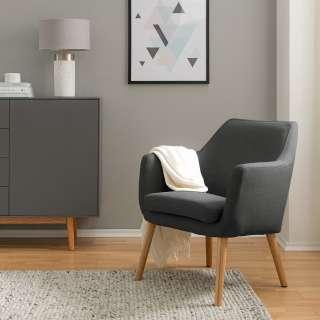 Designercouchtisch in dunkel Grau und Eiche Massivholz 130 cm breit