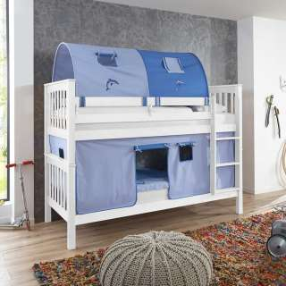 Kinderdoppelhochbett in Weiß Buche massiv Tunnel und Vorhang in Blau
