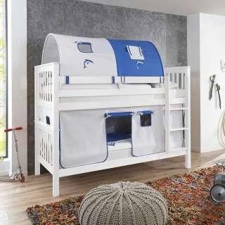 Kinderspielbett in Weiß Buche massiv Tunnel und Vorhang in Blau